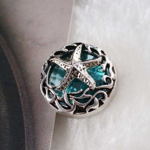 20MM sealife snap silver Antique plated with blue Rhinestone KC6348 snaps jewelry