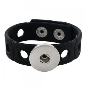 18cm kid junior style bracelet with 15mm width black silicone stretch fit 20mm snap button
