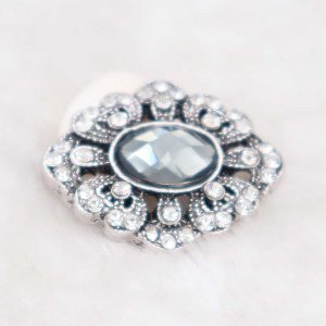 20MM design snap silver Plated with gray rhinestone KC6930 snaps jewelry