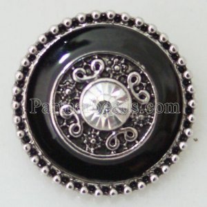 20MM Round snap Antique Silver Plated with rhinestone KB8667 snaps jewelry Black/White