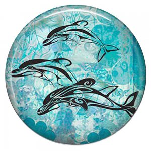 20MM Dolphin Painted enamel metal C5848 print cyan
