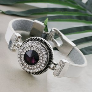 20MM Round snap Silver Plated with dark purple rhinestone KC9881 snaps jewelry