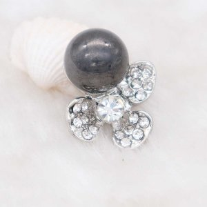 20MM design snap silver Plated with  rhinestone and gray pearl KC6925 snaps jewelry