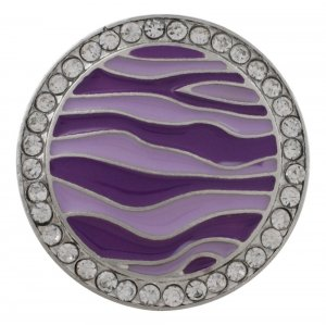 20MM round sliver Plated with  rhinestone and purple enamel KC6545 snaps jewelry