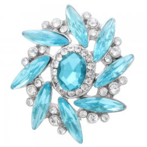 20MM design snap Silver Plated with blue rhinestone KC7980 snaps jewelry