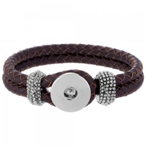 brown real leather new type bracelets fit snaps chunks