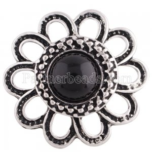 20MM Flower snap Antique Silver Plated with black bead KB7039 snaps jewelry