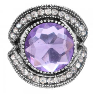 20MM design snap silver Plated with purple rhinestone KC6909 snaps jewelry