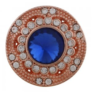 20MM round Rose Gold Plated with blue rhinestone KC6488 snaps jewelry