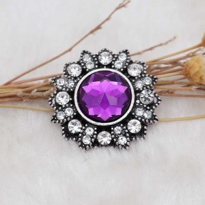 20MM design snap silver Plated with purple rhinestone KC6920 snaps jewelry