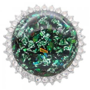 25MM Hand-made Thick glossy round colorful Amber snap Silver Plated with Rhinestone KC7950 Green