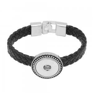 1 buttons black Genuine leather KC0881 bracelets fit 20MM snaps chunks