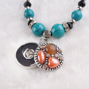 20MM Round snap Antique Silver Plated with orange  rhinestone and resin KB7944 brown