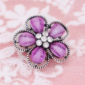 20MM Flowers design snap Silver Plated with purple rhinestone KC6940 snaps jewelry