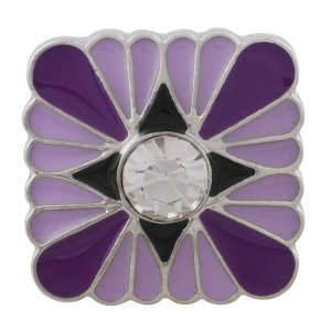 20MM Square sliver Plated with rhinestone and purple enamel KC6542 snaps jewelry