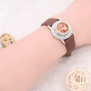 1 buttons Brown Genuine leather KC0878 Watch bracelets fit 20MM snaps chunks