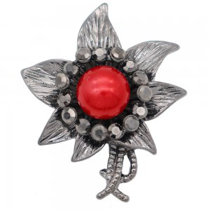20MM Flowers design snap  Plated red pearl KC8001 snaps jewelry