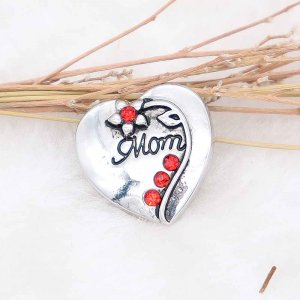 20MM mother snap silver Plated with red Rhinestone  KC9089 snaps jewerly