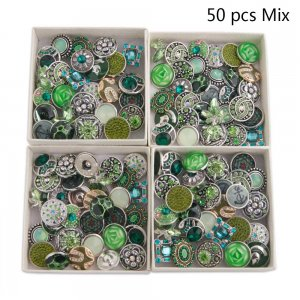50pcs / lot Botones a presión 20mm Mix Green Aqua, colores mixmix verde oliva