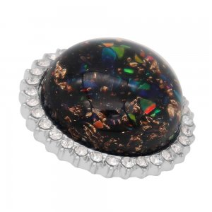 25MM Hand-made Thick glossy round  Amber snap Silver Plated with Rhinestone KC7948 Black