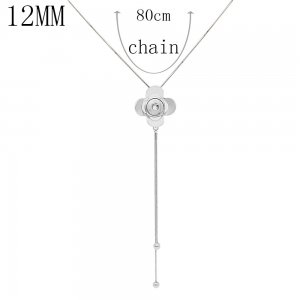 Flower silver pendant Necklace with 80CM chain KS1278-S fit 12MM chunks snaps jewelry