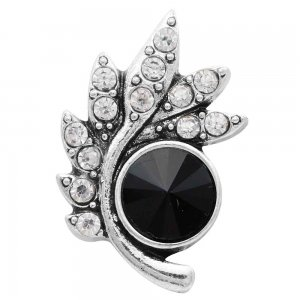 20MM design snap Silver Plated with Black Rhinestones KC6570 snaps jewelry
