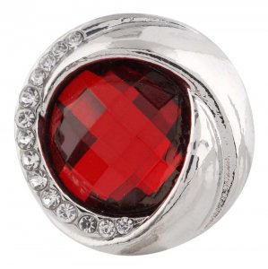 20MM design snap silver plated with red Rhinestone KC7447 interchangeable snaps jewelry