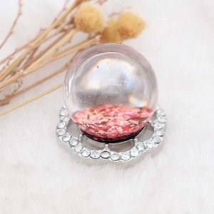 25MM Glossy Spherical Opal rose-red Amber snap Silver Plated with Rhinestone KC7972 snaps jewelry