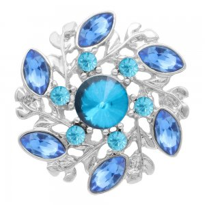 20MM flower snap Silver Plated with blue rhinestone KC7978 snaps jewelry