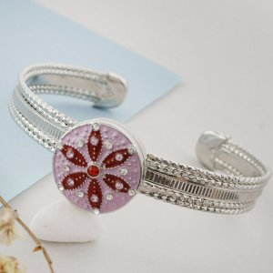 20MM round sliver Plated with white rhinestone and pink enamel KC6553 snaps jewelry