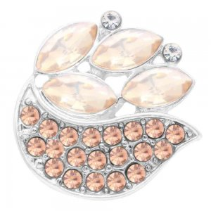 20MM design snap silver Plated with orange Rhinestones KC7814 snaps jewerly