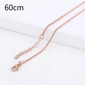 60CM high quality Stainless steel Snake Rose Gold Chain necklace