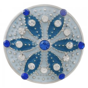 20MM round sliver Plated with white rhinestone and light blue enamel KC6554 snaps jewelry