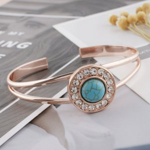 20MM round Rose Gold Plated with green Turquoise and  rhinestone KC7534 snaps jewelry