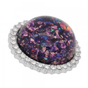 25MM Hand-made Thick glossy round  Amber snap Silver Plated with Rhinestone KC7959 purple