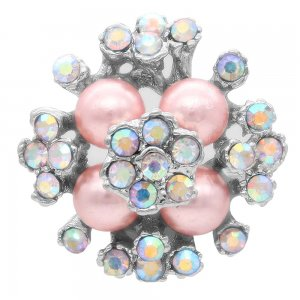 20MM pearl snap silver Plated with colorful rhinestone and pearl KC6927 snaps jewelry