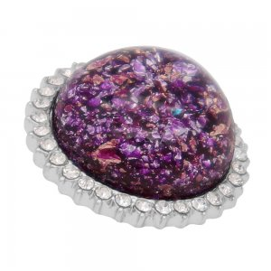 25MM Hand-made Thick glossy round  Amber snap Silver Plated with Rhinestone KC7951 Purple