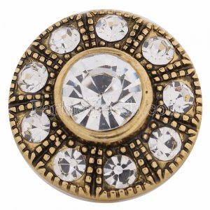 20MM design snap Antique gold Plated with white rhinestones KC8614 snaps jewelry