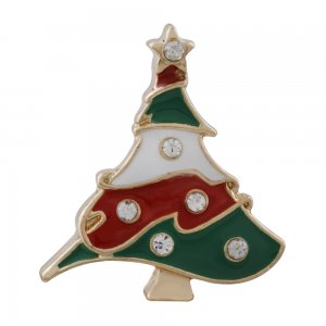 20MM Christmas gold Plated with  rhinestone and enamel KC6548 snaps jewelry