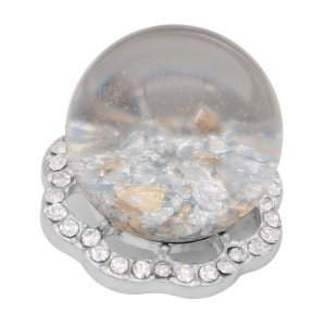 25MM Glossy Spherical opal white Amber snap Silver Plated with Rhinestone KC7969 snaps jewelry