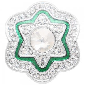 20MM design snap Silver Plated with  rhinestone and green enamel KC7924 snaps jewelry