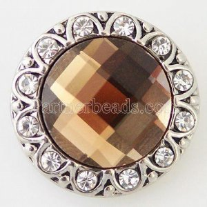 20MM Round snap Silver Plated with brown and clear rhinestone KB8648 snaps jewelry