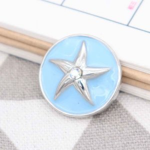 20MM Starfish snap silver Plated with Rhinestone and blue enamel KC9095 snaps jewerly