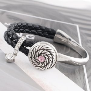 20MM design snap Silver Plated with pink rhinestone KC6522 snap jewelry