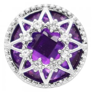20MM design snap Silver Plated with purple rhinestone KC7854 snaps jewelry