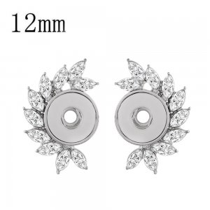 snap sliver earring with rhinestone fit 12MM snaps jewelry KS1215-S