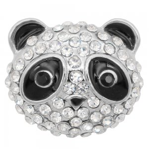 20MM Panda snap Silver Plated with black and white rhinestone KC7996 snaps jewelry