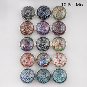10pcs/lot glass snap buttons MixMix design 20MM Snap buttons 15 types in picture Snaps Jewelry