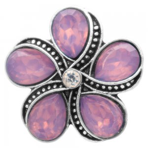 20MM flower snap with purple rhinestones  KC6946 snaps jewelry