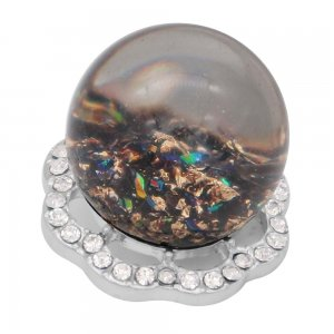25MM Glossy Spherical opal black Amber snap Silver Plated with Rhinestone KC7971 snaps jewelry